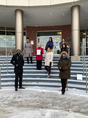 Mayor Gale Katchur proclaimed Black History Month in Fort Saskatchewan and posed for a photo in front of City Hall alongside MLA Jackie Armstrong Homeniuk, and members of City council. Photo Supplied by Gale Katchur