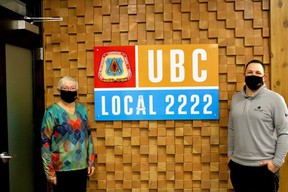 UBC Local 2222 is donating their services to Huron Shores Hospice's secondary suite. L-R: Cheryl Cottrill (Hospice) and Ryan Plante (UBC Local 2222). SUBMITTED