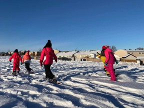 Fort McMurray Catholic School division students snowshoe. Supplied image