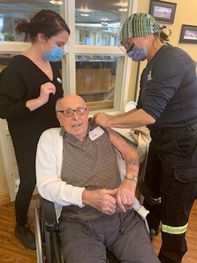 At age 100, Huronview Home for the Aged resident Alan Neals received his first dose of the Pfizer BioNTech COVID-19 vaccine. Handout