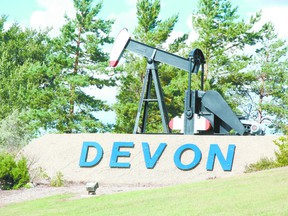 The pumpjack the Devon signage on Highway 60 heading south is the signal motorists are close to the town. Alex Boates/Devon Dispatch/QMI Agency