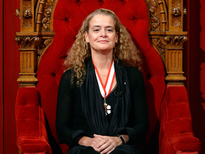 Canada's 29th Governor General Julie Payette watches from her seat in the Senate chamber during her installation ceremony on Monday, Oct. 2, 2017.