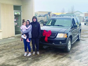 A Leduc-area resident was surprised with a new-to-her car over the holidays. (Supplied)
