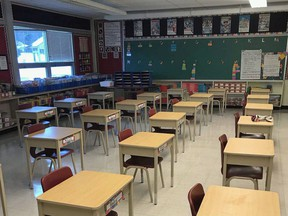 A classroom at Hillcrest Elementary School in Owen Sound awaits the return of students next week. (supplied photo)