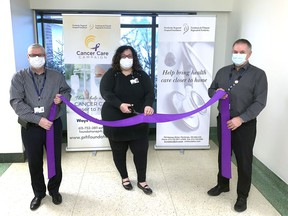 The Pembroke Regional Hospital Foundation has announced the launch of its $1.65 million Cancer Care Campaign. Cutting the ribbon to mark the official launch (from left) were Roger Martin, PRH Foundation executive director; Leigh Costello, PRH Foundation community fundraising specialist and Pierre Noel, PRH president and CEO.