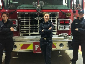 Fire fighter Mariah Williams, left, lieutenant Chantell Brown, centre and fire fighter Rebecca Raikles, made up the city's first all female pump crew with Spruce Grove Fire Services on Dec. 31, 2020. Submitted photo.