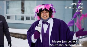 South Bruce Peninsula Mayor Janice Jackson announced an early spring at the virtual Wiarton Willie Groundhog Day prediction on Tuesday, Feb. 2, 2021. (Screen grab from video)