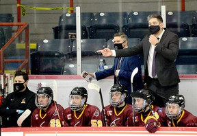 The Timmins Rock have announced head coach Corey Beer, shown here disputing a call during an NOJHL game against the Rayside-Balfour Canadians at the McIntyre Arena on Nov. 22, has resigned to take a position with the Okanagan Hockey Group, based out of Whitby. FILE PHOTO/THE DAILY PRESS