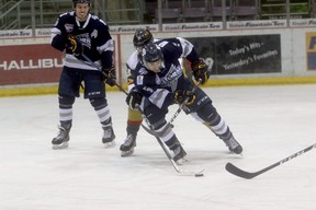 Grande Prairie Storm defender Juliano Santalucia (#5)  in Alberta Junior Hockey Leage action against the Bonnyville Pontiacs at Revolution Place back in November. The AJHL will re-start the season on March 5, after the league got the go ahead from the Alberta government last week.