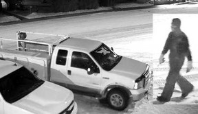 The vehicle is described as a white 2006 Ford F350 with Alberta licence plate CHM5956.