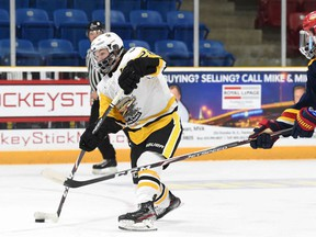 Wyatt George (#28) of the Trenton Golden Hawks has announced he will join the Beavers at Babson College in Wellesley, Massachusetts. ANDY CORNEAU/OJHL IMAGES Editorial Use