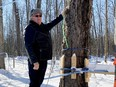 Frank Heerkens is the president of the Ontario Maple Producers' Association and the man behind reviving the Kemptville College sugar bush. Walking out into the bush Heerkens demonstrates how the smaller green lines are hooked up to the tap on a tree once the sap starts to flow – in about two to three weeks, he reckons.(HEDDY SOROUR/Local Journalism Initiative)