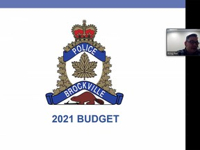 King Yee, Jr. chairman of the Brockville police services board, begins his budget presentation to city council's virtual meeting on Tuesday. (SCREENSHOT)