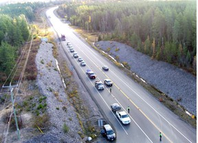 Ontario Provincial Police and Ministry of Transportation enforcement officers participate in a traffic blitz on Highway 11 North. Nugget File Photo