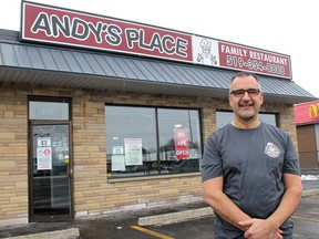 Andy's Place Family Restaurant owner Koullies Stylianou is putting safety first when it comes to operating his business under slightly lessened COVID-19 restrictions that begin Tuesday. Ellwood Shreve/Chatham Daily News/Postmedia Network