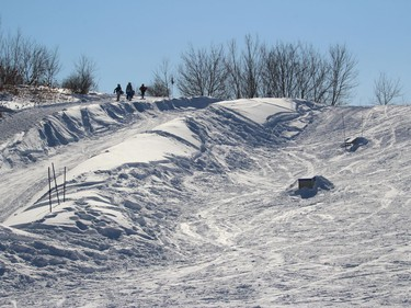 The trudge up the south side of the facility at the terrain park. Photo on Sunday, February 21, 2021, in Cornwall, Ont. Todd Hambleton/Cornwall Standard-Freeholder/Postmedia Network