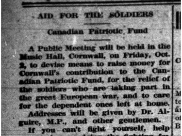 The Standard-Freeholder covered Canadians fighting in the first world war on Oct. 1, 1914.Handout Not For Resale