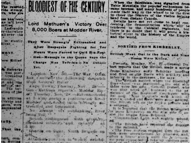The Standard-Freeholder deemed this the bloodiest battle of the century, on Dec. 1, 1899. Handout Not For Resale