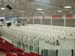 The setup of the COVID-19 mass immunization Hockey Hub at the P&H Centre in Hanover.