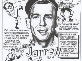 Left-handed pitcher Arnie Jarrell, a local player who starred with the Kingston Ponies, was lionized in this 1948 cartoon. He was one of many of the team's players who appeared in The Kingston Whig-Standard's sports pages.