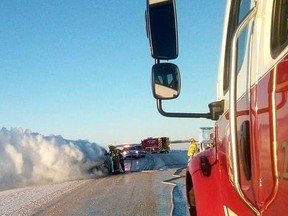 Melfort fire fighters extinguish a fully involved vehicle fire on Feb. 5, northwest of the city. Photo supplied.