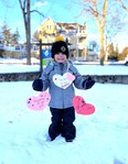 Avaya Chaput stands in front of Seaforth Manor with hearts to hang on their trees. Community members have come together to raise money for Seaforth Manor. Handout