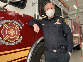 St. Marys fire Chief Richard Anderson stands in the department's renovated fire station. (Cory Smith/Stratford Beacon Herald)