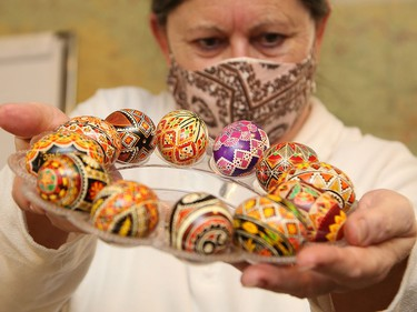 Linda Russell, of the Ukrainian Seniors' Centre in Sudbury, Ont., shows off samples of Ukrainian egg decoration on Thursday February 18, 2021. The centre is organizing and hosting a learn to Pysanka on Zoom workshop on Friday, March 19 at 10 a.m. The fee is $25 per kit, which includes supplies and Zoom registration. Participants must register and pick-up the kit by March 15. For more information, call 705-673-7404. John Lappa/Sudbury Star/Postmedia Network