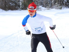 Henri Lefebvre, of College Notre-Dame, competes in a high school nordic preliminary meet at the Onaping Falls Nordic Ski Club in Greater Sudbury, Ont. on Thursday February 25, 2021. John Lappa/Sudbury Star/Postmedia Network