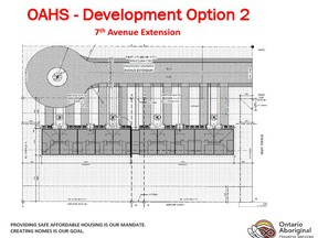 Representatives from the Ontario Aboriginal Housing Support Services Corporation (OAHS) made a presentation at Council at the end of last month with an option of a second phase to the  original plan of building a 10-single person units facility on 8th Avenue. They are asking Council to consider the extension of 7th Avenue which would allow them to construction between 10-20 more single and larger units. They are waiting for a commitment from the town before moving ahead with a finalized project design.TP.jpg