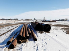 A supply depot servicing the Keystone XL crude oil pipeline lies idle in Oyen, Alberta. PHOTO BY TODD KOROL/REUTERS