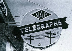 """•IMG_0001 – The sign depicts the NAR (Northern Alberta Railways), telegraphs and poles, which held lines by which telegraphs were transmitted; then once telephone lines were """"flung"""" on them, they served both telegraph and telephone transmission. As we learned, although the Peace Country was far from more populated areas, it received these technologies in advance of the larger ones. It didn't happen without a great deal of planning and effort by the companies involved and the crews working on the projects overcoming all manner of impediments – weather, equipment and terrain among them."""
