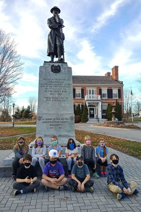 Local children participated in a special project to help celebrate the 100th anniversary of the cenotaph. Royal Canadian Legion Branch 92 in Gananoque is upset with the idea of the Town possibly moving the cenotaph to a new location when they perform renovations on Town Park.   Supplied by Janet Gaylord