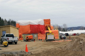 Work is progressing on construction of a 50-unit seniors' complex on Big Bend Avenue in Powassan.  The project remains on target for a late fall completion.   Kathie Hogan photo