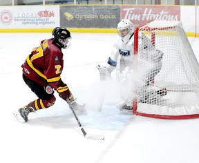 Timmins Rock forward Harry Clark, shown here in action earlier in the series at the Tim Horton Event Centre, scored a pair of goals and set up four others Sunday afternoon to help lead the Timmins Rock to a 10-1 victory over the Cochrane Crunch. It was the ninth meeting of the two teams, with the two sides scheduled to conclude their 10-game set at the McIntyre Arena on Tuesday, at 8:30 p.m. THOMAS PERRY/THE DAILY PRESS