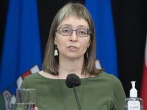 Alberta's chief medical officer of health Dr. Deena Hinshaw gives an update on COVID-19 case numbers on Thursday, March 25, 2021. Photo by CHRIS SCHWARZ / Government of Alberta
