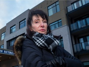 Mary Sardelis is shown in 2019 outside the Nepean retirement home that served her with a trespass notice.