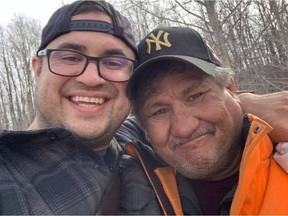 Jacob Sansom, 39, and his uncle Morris Cardinal, 57, smile in a photo taken the day before their bodies were discovered. They were found with gunshot wounds on Saturday, March 28, 2020, around 4 a.m. on a rural road near Glendon, southwest of Cold Lake. PHOTO BY SUPPLIED