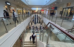 Shoppers at Peter Pond Mall in downtown Fort McMurray on February 15, 2021. Vincent McDermott/Fort McMurray Today/Postmedia Network