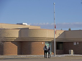 The flag at Christ The King High School in Leduc, is at half-mast on Monday, March 15, 2021 following the stabbing death of a 17 year old girl from the school.