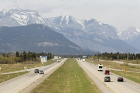 A view of traffic on the Trans-Canada Highway west of Calgary in May of 2020, just ahead of the long weekend
