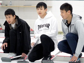 The Town of Stony Plain is hoping to virtually celebrate the 35th anniversary of its Shikaoi Exchange Program later this year. Pictured, students from Shikaoi, Japan, learn to curl at the Westridge Curling Club in Stony Plain on Saturday, Oct. 12, 2019. Photo by Evan J. Pretzer.