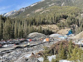 Work in progress on the embankment dam at Cougar Creek in Canmore on March 13, 2021. The long-awaited, $48.8-million flood-retention structure built to protect the town and critical infrastructure from devastating flood damage like that which occurred seven years ago. Photo Marie Conboy/ Postmedia.