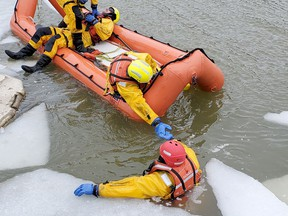 The Lambton Shores fire and emergency services department held an ice and water rescue training course for its members during the last weekend of February in Port Franks.