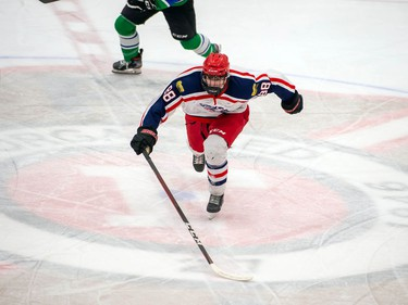 Cornwall Colts Jake Rozzie hustles towards the puck during play against the Hawkesbury Hawks on Friday March 5, 2021 in Cornwall, Ont. The Hawks won 4-2. Robert Lefebvre/Special to the Cornwall Standard-Freeholder/Postmedia Network