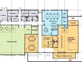 A floor plan for the new municipal building slated to open next summer. Town of Cochrane YouTube