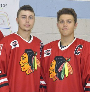 Brett Denny (left) and Luken Van Pelt, two of four possible overage hockey players (born in 1999) with the Mitchell Hawks of the PJHL Pollock division, are hoping to have their request granted to play one final season in 2021-22 after missing this past year. ANDY BADER/MITCHELL ADVOCATE