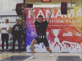 Noah Santavy of Sarnia, Ont., is a 2021 Ontario Weightlifting Association senior champion. (Contributed Photo)