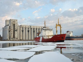 Canadian Coast Guard Ship Griffon spent several days last week breaking ice in the North Channel.