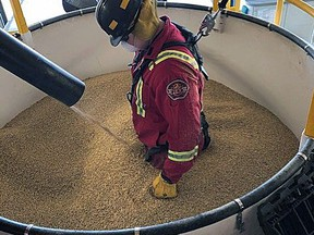 Wetaskiwin firefighters were recently trained on grain bin rescue, after receiving an equipment donation from G3. Ren Goode/Alex Plant photos